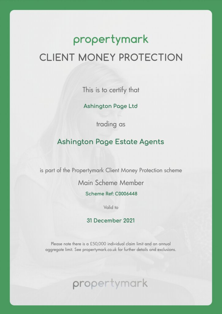 Ashington Page Client Money Protection Certificate with Propertymark